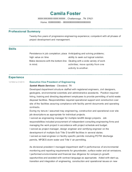 Executive Vice President of Engineering resume template Tennessee