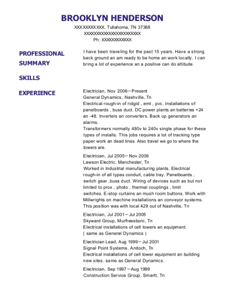 Electrician resume template Tennessee