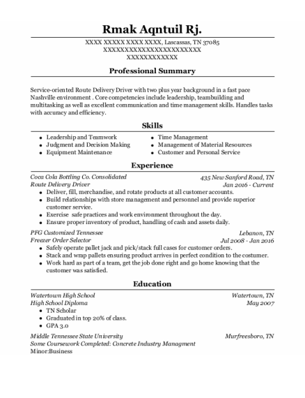 Route Delivery Driver resume template Tennessee