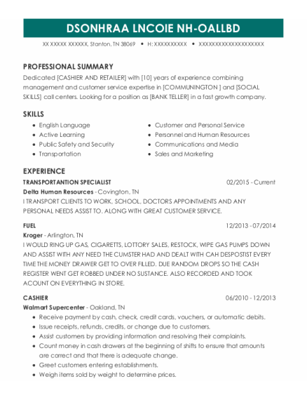 Bulk Fuel Specialist resume example Tennessee