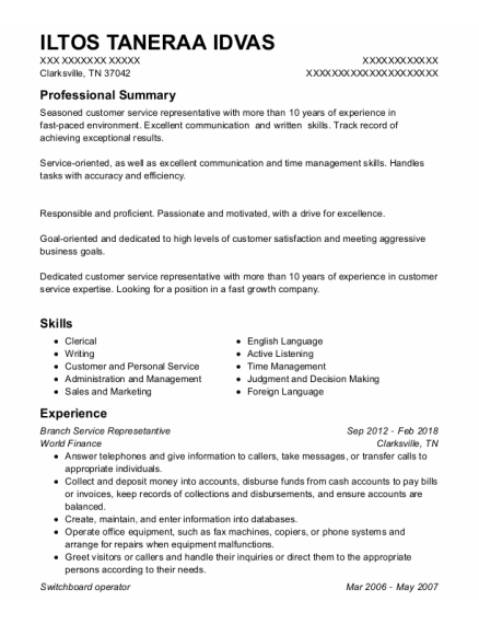 Switchboard Operator resume example Tennessee