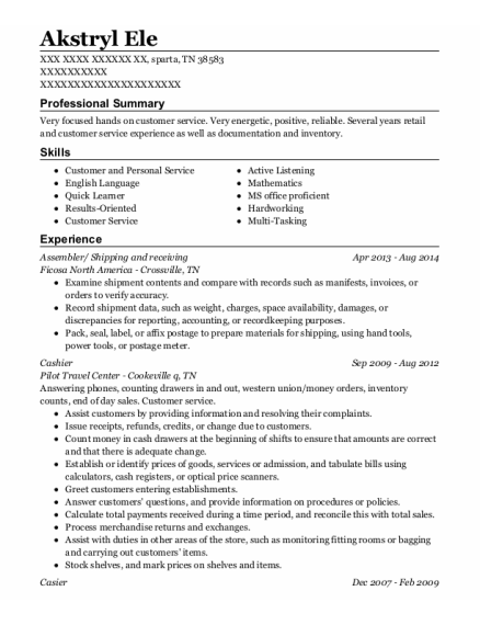 Assembler resume sample Tennessee
