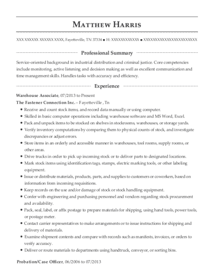 Warehouse Associate resume template Tennessee