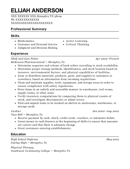 Shelf and Case Picker resume sample Tennessee