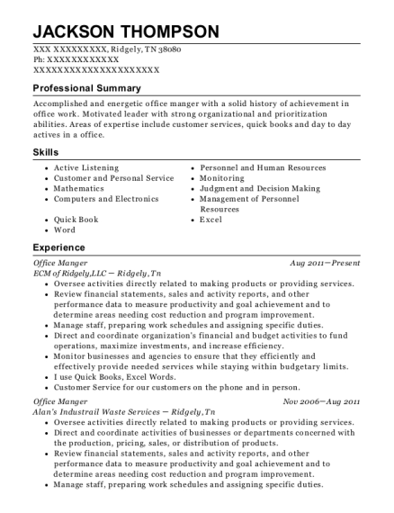 Office Manger resume example Tennessee