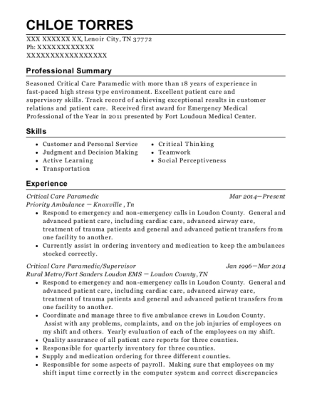 Critical Care Paramedic resume sample Tennessee