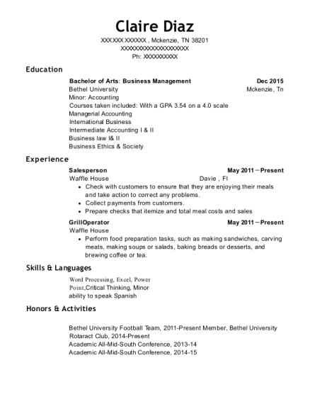 Salesperson resume example Tennessee