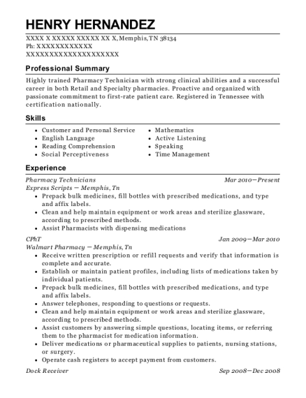 Pharmacy Technicians resume format Tennessee