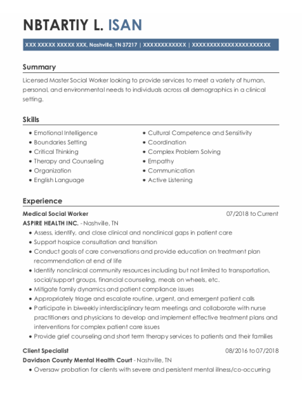 Client Specialist resume format Tennessee