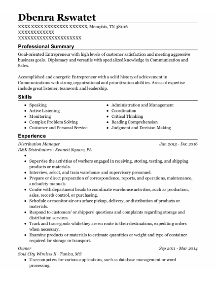 Distribution Manager resume format Tennessee
