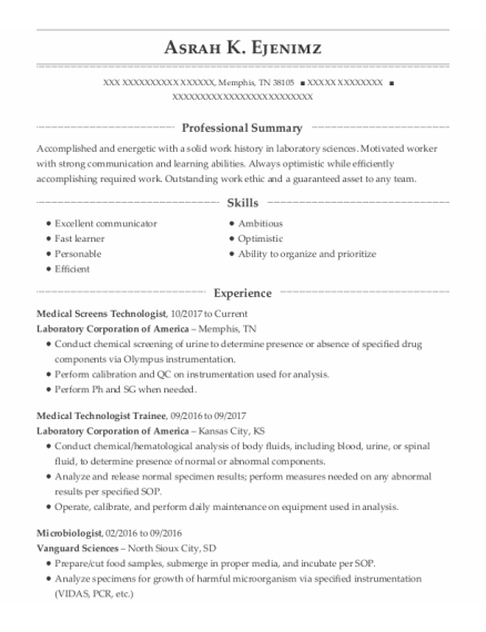 Microbiologist resume sample Tennessee