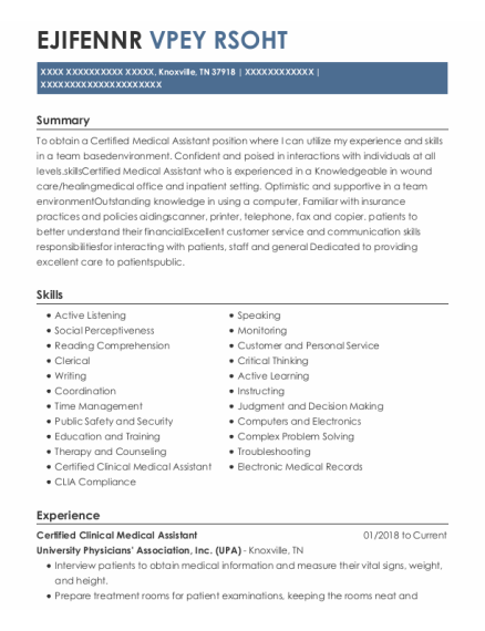 Certified Clinical Medical Assistant resume sample Tennessee