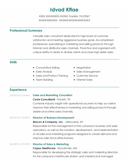 Director Of Business Development resume example Tennessee