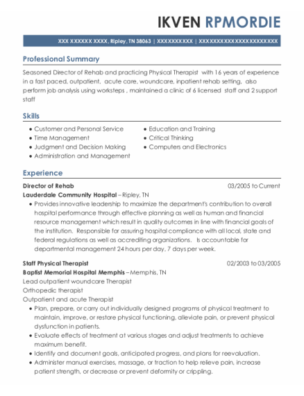 Director Of Rehabilitation resume sample Tennessee
