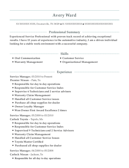 Service Manager resume sample Tennessee