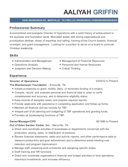 Director of Operations resume format Tennessee
