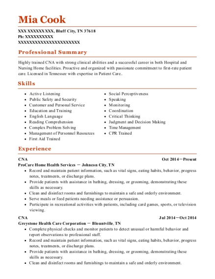 CNA resume template Tennessee
