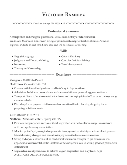 Caregiver resume example Tennessee