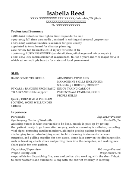 Paramedic resume sample Tennessee