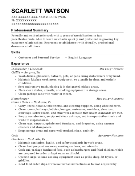 Dishwasher resume example Tennessee