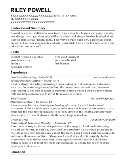 Lead Warehouse Guy resume template Tennessee