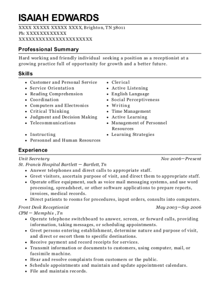 Unit Secretary resume example Tennessee