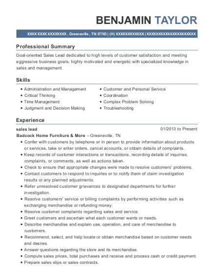 sales lead resume format Tennessee