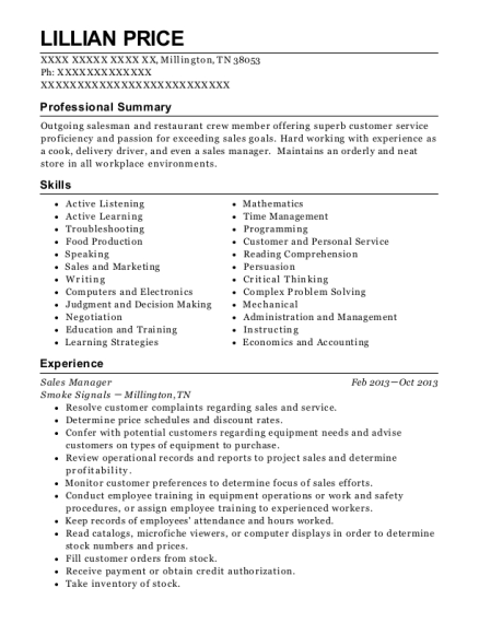 Sales Manager resume format Tennessee