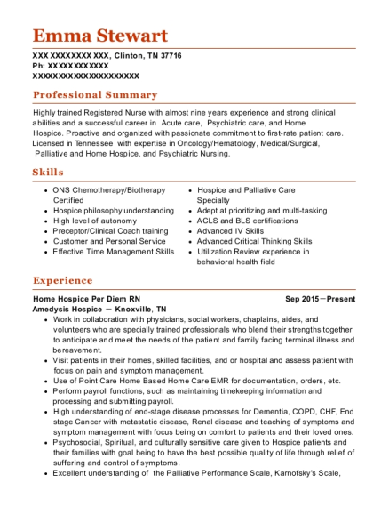 Home Hospice Per Diem RN resume example Tennessee