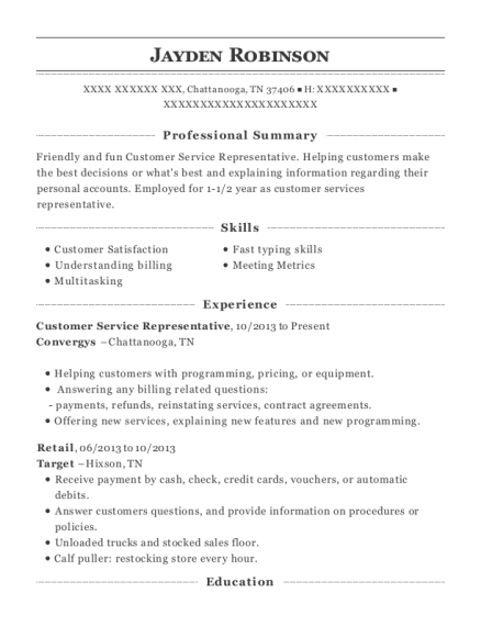 Customer Service Representative resume format Tennessee