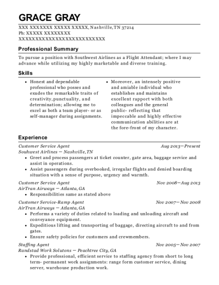 Customer Service Agent resume template Tennessee