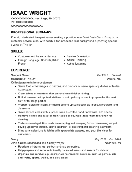 Banquet Server resume template Tennessee