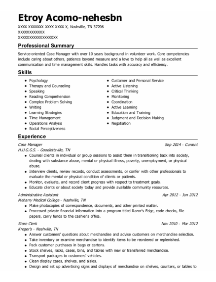 Case Manager resume format Tennessee