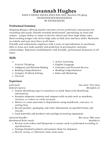 pick pack resume template Tennessee
