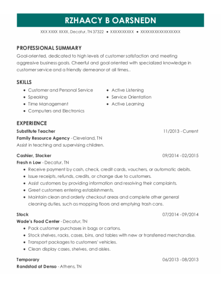 Substitute Teacher resume format Tennessee