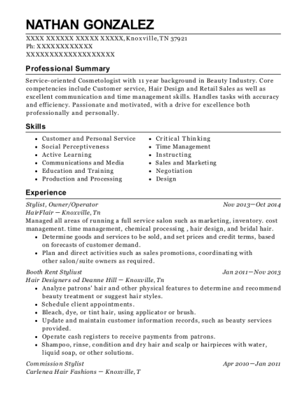 Stylist resume template Tennessee