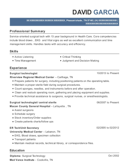 Surgical Technologist resume sample Tennessee