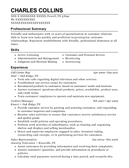 Call Center Rep resume example Tennessee