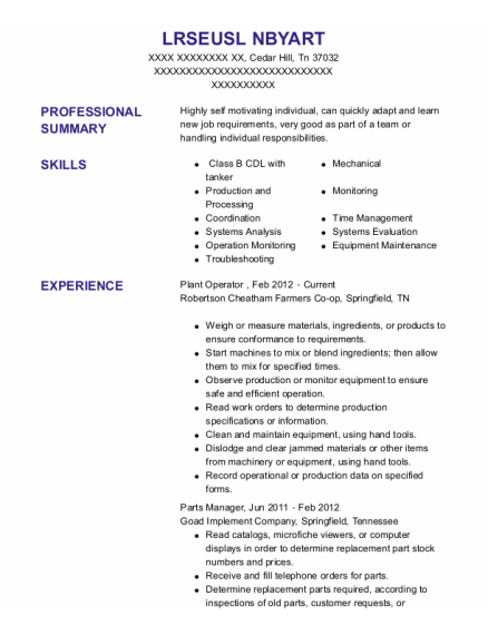 Plant Operator resume example Tennessee