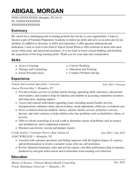 Family Intervention Specialist resume example Tennessee