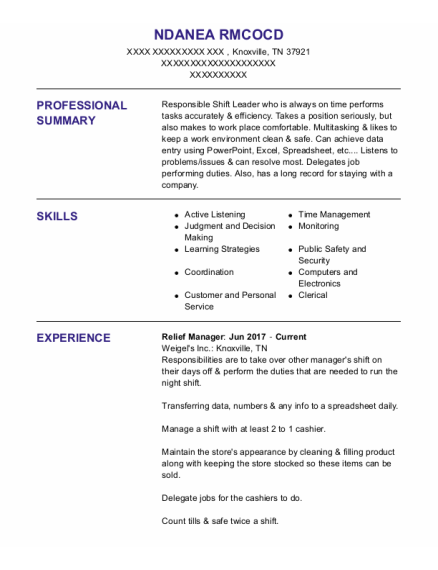 Relief Manager resume template Tennessee