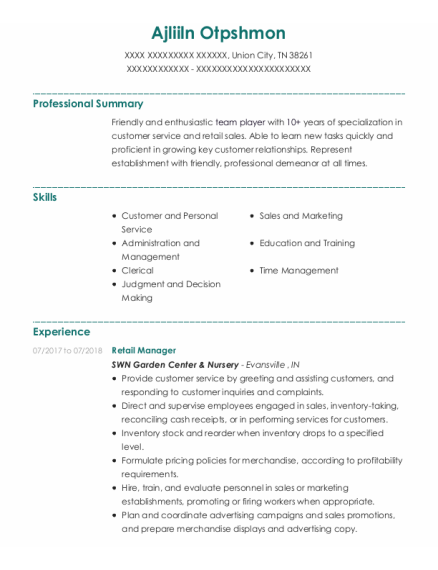 Retail Manager resume example Tennessee