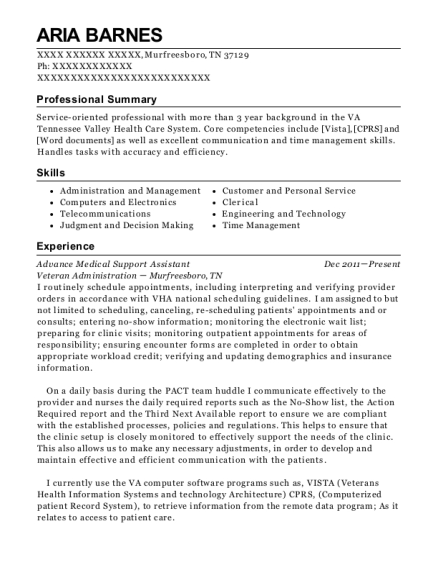 Advance Medical Support Assistant resume format Tennessee