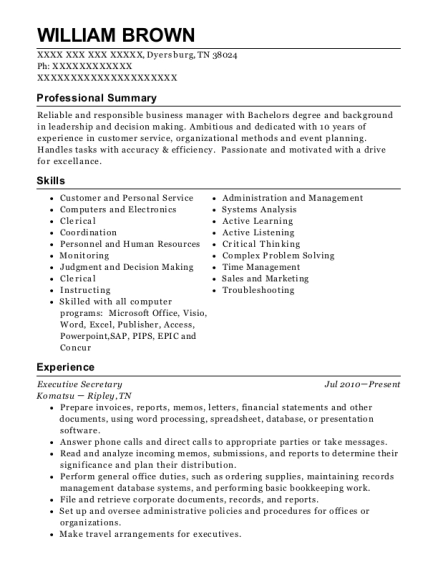 Executive Secretary resume template Tennessee