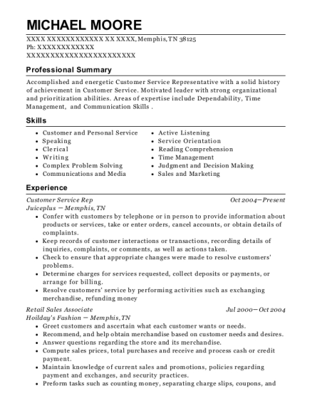Customer Service Rep resume sample Tennessee
