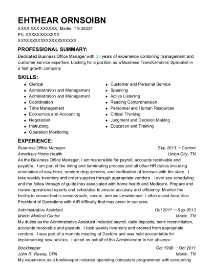 Business Office Manager resume example Tennessee