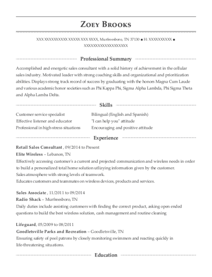 Retail Sales Consultant resume template Tennessee