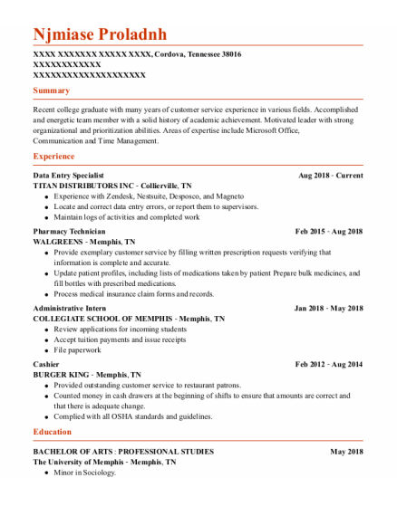 Data Entry Specialist resume template TENNESSEE