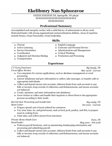 Meat Cutter resume template Tennessee