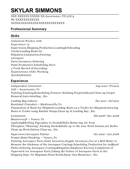 Independent Contractor resume format Tennessee